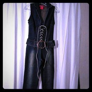 One piece jean suit